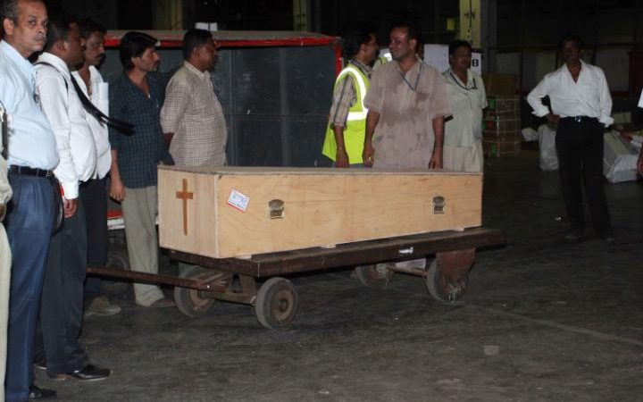 Scarlett Keeling's coffin arrives at Mumbai  CREDIT: SAMEER JOSHI